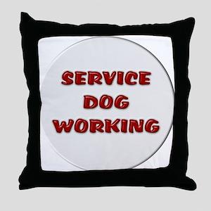 SERVICE DOG WORKING WHITE Throw Pillow