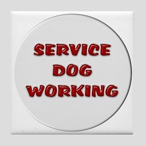 SERVICE DOG WORKING WHITE Tile Coaster