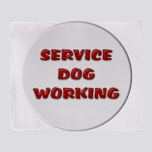 SERVICE DOG WORKING WHITE Throw Blanket