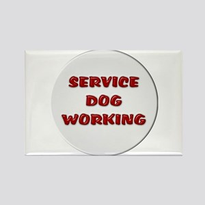 SERVICE DOG WORKING WHITE Magnets