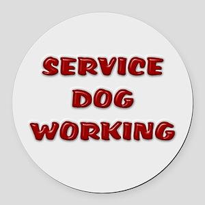 SERVICE DOG WORKING WHITE Round Car Magnet