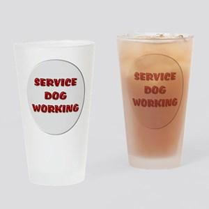SERVICE DOG WORKING WHITE Drinking Glass