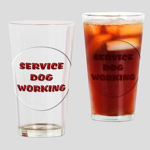 SERVICE DOG WORKING WHITE Drinking Glass