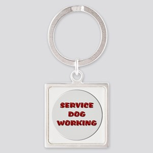 SERVICE DOG WORKING WHITE Keychains