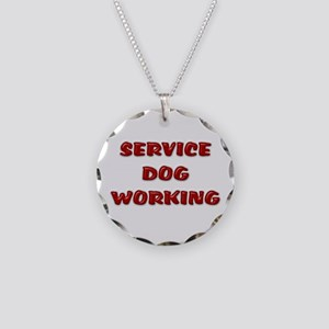 Service Dog Working White Necklace Circle Charm