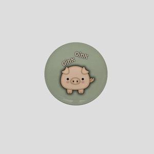 Cute Pink Pig Oink Mini Button