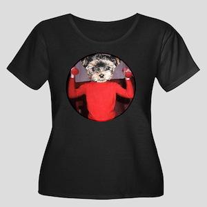 Puppy wo Women's Plus Size Scoop Neck Dark T-Shirt