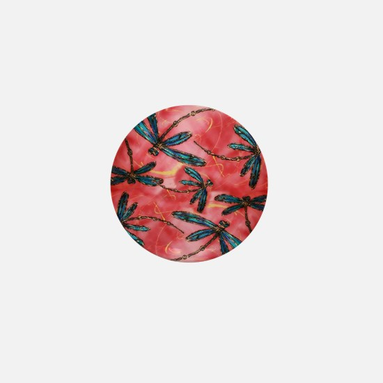 Dragonflies Tangerine Sky Mini Button