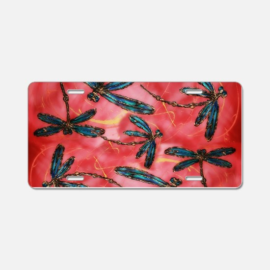 Dragonflies Tangerine Sky Aluminum License Plate