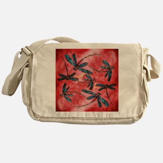 Dragonflies Tangerine Sky Messenger Bag