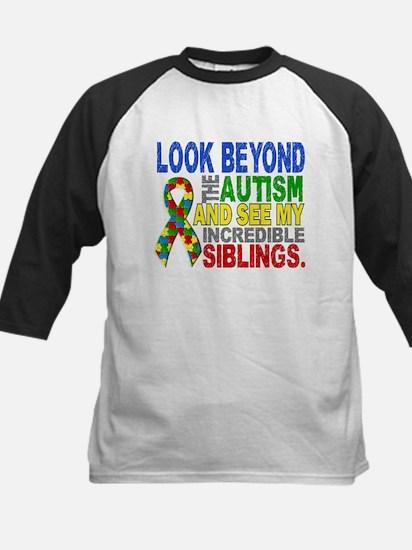 Look Beyond 2 Autism Siblings Kids Baseball Jersey