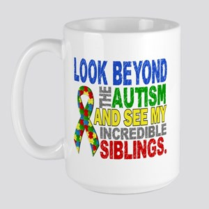 Look Beyond 2 Autism Siblings Large Mug