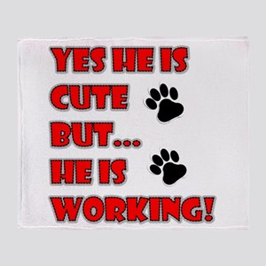SERVICE DOG CUTE BUT WORKING Throw Blanket
