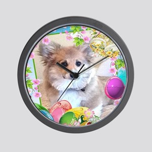 Puppy Corgi Easter Eggs Wall Clock