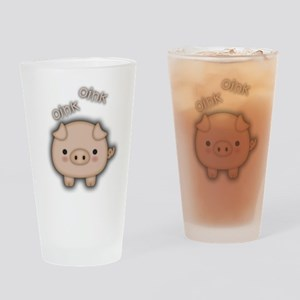 Cute Pink Pig Oink Drinking Glass
