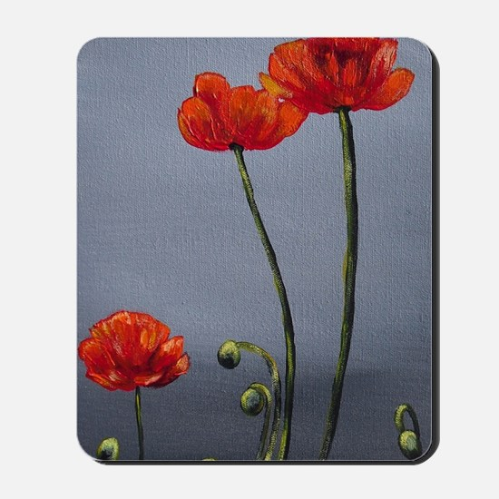 Dreary Day Poppies Mousepad