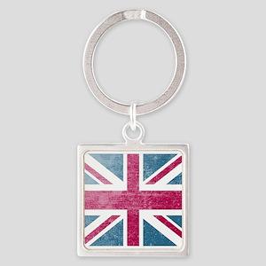 Union Jack Retro Square Keychain