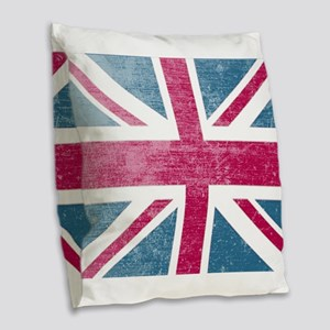 Union Jack Retro Burlap Throw Pillow