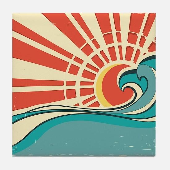 wave at dawn Tile Coaster