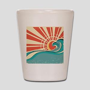wave at dawn Shot Glass