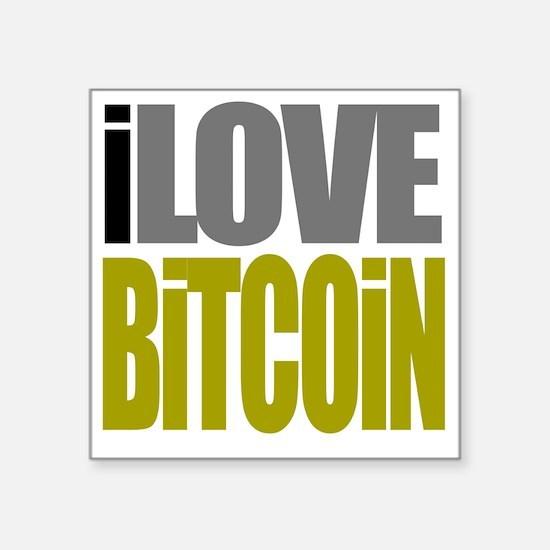 """I Love Bitcoin Square Sticker 3"""" x 3"""""""