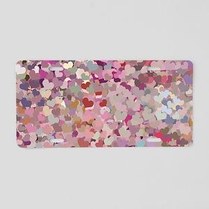Pink Confetti Hearts Aluminum License Plate
