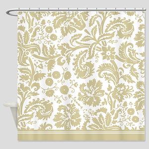 Matte Gold Damask Shower Curtain