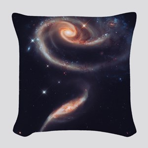 Spiral Galaxies Interacting Woven Throw Pillow