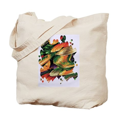 Fall Fractal Fabric Hearts Tote Bag