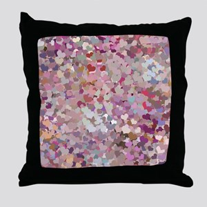 Pink Confetti Hearts Throw Pillow