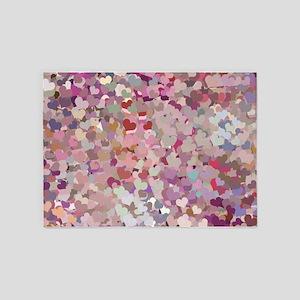 Pink Confetti Hearts 5'x7'Area Rug
