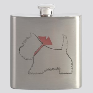 Cute Westie Dog Art Flask