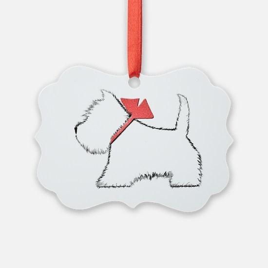 Cute Westie Dog Art Ornament
