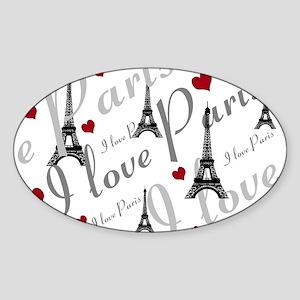 Trendy I LOVE PARIS Sticker (Oval)