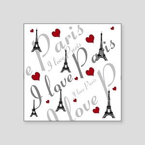 "Trendy I LOVE PARIS Square Sticker 3"" x 3"""