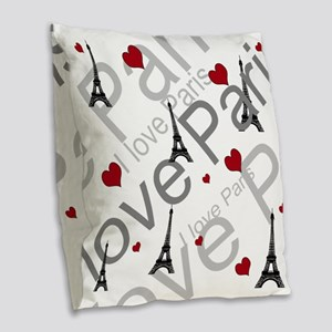 Trendy I LOVE PARIS Burlap Throw Pillow