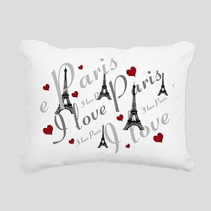 Trendy I LOVE PARIS Rectangular Canvas Pillow
