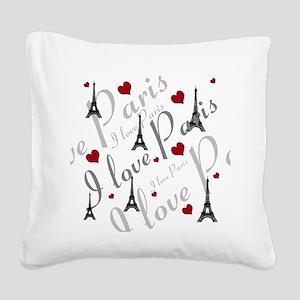 Trendy I LOVE PARIS Square Canvas Pillow