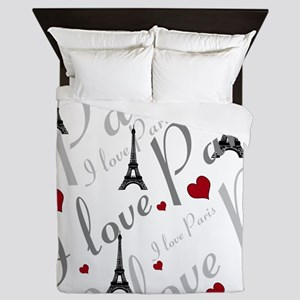 Trendy I LOVE PARIS Queen Duvet