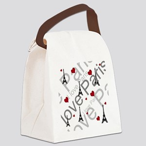 Trendy I LOVE PARIS Canvas Lunch Bag