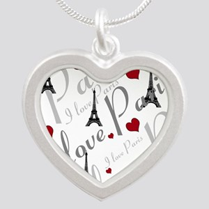 Trendy I LOVE PARIS Silver Heart Necklace