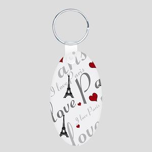 Trendy I LOVE PARIS Aluminum Oval Keychain