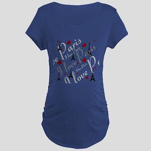 Trendy I LOVE PARIS Maternity Dark T-Shirt