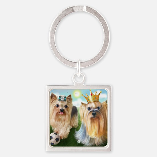 Yorkie Queen and Player Square Keychain