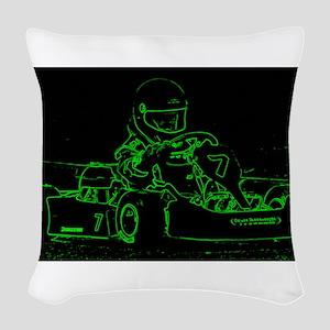 Kart Racer in Green Woven Throw Pillow
