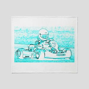 Kart Racer Blue and White Throw Blanket
