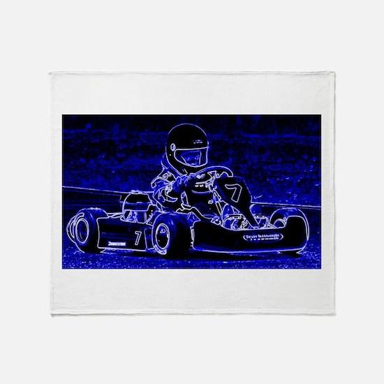Kart Racer in Blue Throw Blanket