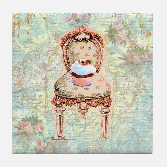 French Cupcake Victorian Tile Coaster