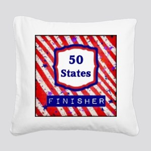 50 States Finisher Square Canvas Pillow