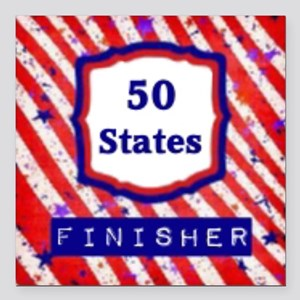 """50 States Finisher Square Car Magnet 3"""" x 3"""""""